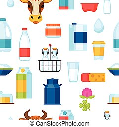 Milk seamless pattern with dairy products and objects