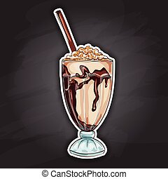 Milk shake cocktail color picture sticker - Chocolate milk...
