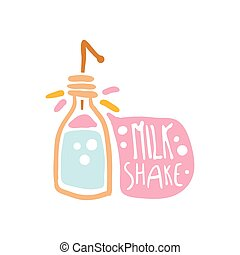 Milk shake colorful logo template, element for restaurant, bar, cafe, menu, sweet shop, hand drawn vector illustration