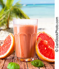 milk shake drink - Fresh milk, grapefruit, drink isolated on...