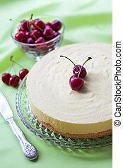 Milk souffle and white chocolate cake with fresh cherry -...