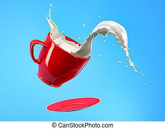 Milk splash in red mug and saucer jumping on blue background.