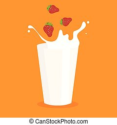 milk splash in the glass and strawberry vector illustration