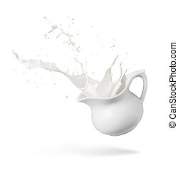 milk splash - jug of spilling fresh milk creating splash