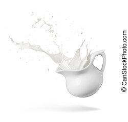 milk splash - jug of spilling fresh milk creating splash