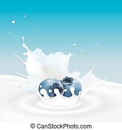 Milk splash with blueberry