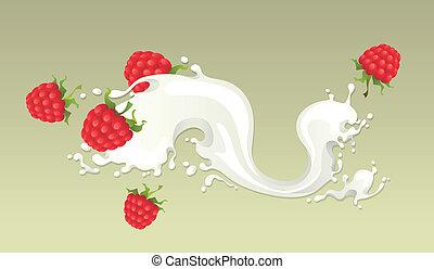 Milk splash with raspberries