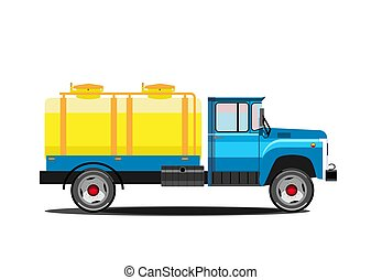 milk., tanque, illustration., car, entrega, vetorial, retro, truck.