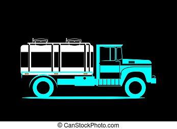 milk., tanque, illustration., car, imagem, entrega, vetorial, retro, esquemático, truck.