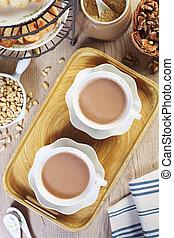Milk tea on wooden table