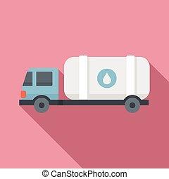 Milk truck tank icon, flat style