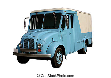 This is a picture of an old milk truck, the kind used when they brought the milk and ice cream to your door.