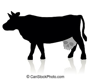 Cow with a skull instead of an udder - a symbol for unhealthy milk and dairy products. Isolated vector illustration on white background.