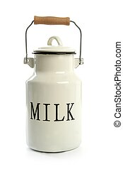 Milk urn white pot traditional farmer style isolated on...