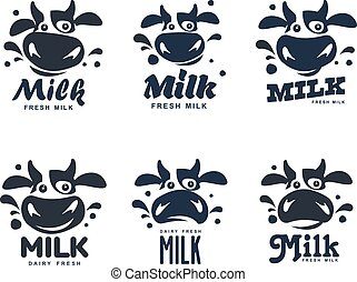 Milk elegant vector set logo template. Label, sticker, icon. Symbol for milk and skim. Web graphics, banners, advertisements, brochures, business templates. Isolated on a white background