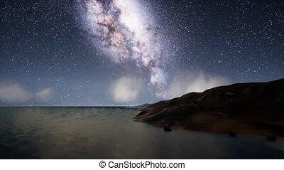 Milk Way stars above the lake at night