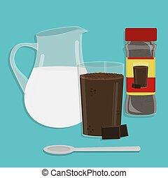 Milk with chocolate powder