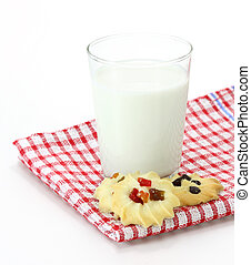 milk with cookies. Isolated on white background