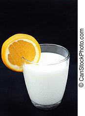 milk with orange fruit