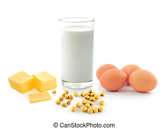 milk with soy beans stick of butter and egg on white...