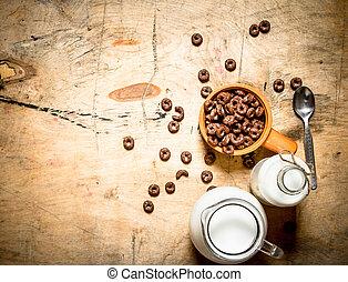 milk., zdrowy, jadło., zboże, czekolada