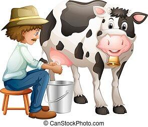 Farmer milking cowing in the bucket