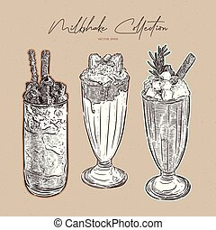 Milkshake collection, hand draw sketch vector.