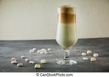 Milkshake drinks with whipped cream, close up view