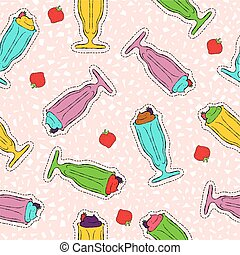 Milkshake hand drawn stitch patch icon pattern