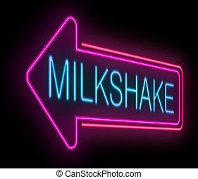 Milkshake sign. - Illustration depicting an illuminated neon...