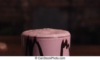 Milkshake, sprinkled with chocolate chips. - Milkshake,...