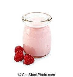 Milkshake with raspberries in glass jar