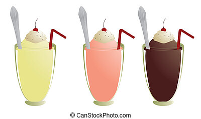 Milkshakes isolated - Milkshakes with topping straw and...