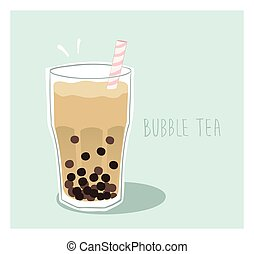 Milk bubble tea with tapioca balls in a glass with a straw