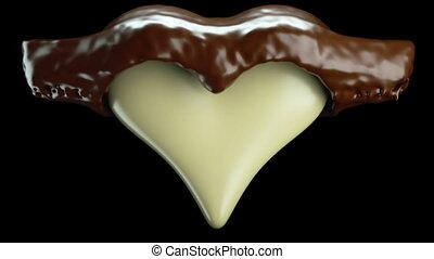 Milky heart shape and hot chocolate