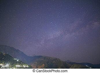 Milky Way above Himalayas mountains