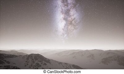 Milky Way above Snow Covered Terrain - aerial view of Milky...