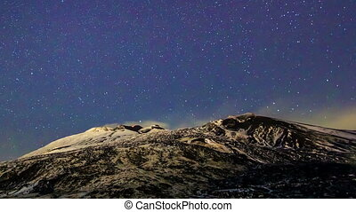 Milky Way above the volcano Etna. Time Lapse