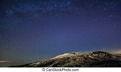 Milky Way above the volcano Etna. Time Lapse. 4K