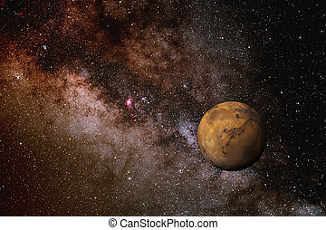 Milky Way and Mars - Photo illustration of Mars against the...