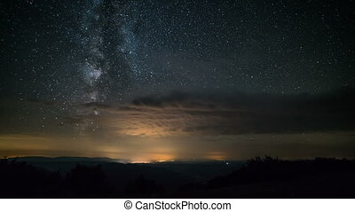 Milky way and stars in starry night sky Time lapse