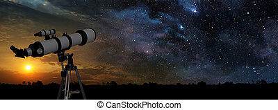milky way at sunset and telescope in the foreground