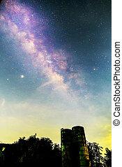Milky way at the sky in dark night