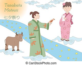 Milky Way, couple and cow. Tanabata legend. - Hand drawn...