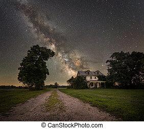 Milky Way Galaxy behind an abandoned home