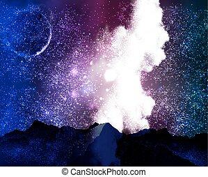 Milky Way Galaxy in the starry night sky