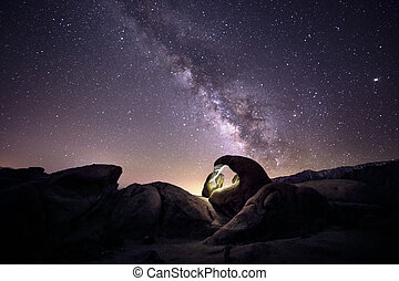 Milky Way Galaxy Over Arch in Desert - Lanscape view of the ...