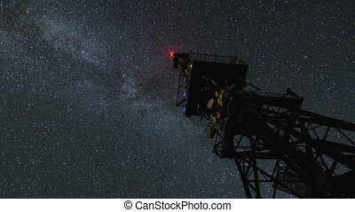 Milky way galaxy over communication tower Time lapse