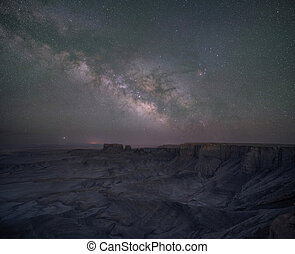 Milky Way Galaxy Panorama over a canyon near Skyline View in Utah