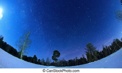 Milky Way in the night sky. Fisheye. Time Lapse